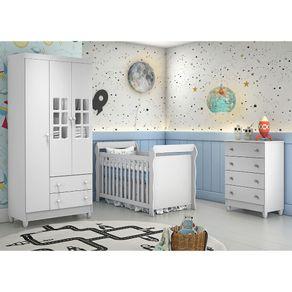 Quarto de Bebê Ariane Cômoda Mel com Berço 3 em 1 Lara
