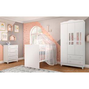 Quarto de Bebê Ariel 3 Portas Cômoda Mel com Berço Gabi