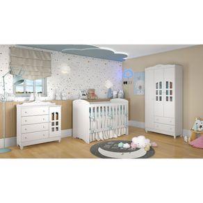 Quarto de Bebê Provençal Lisa 3 Portas com Berço 3 em 1 Eloá